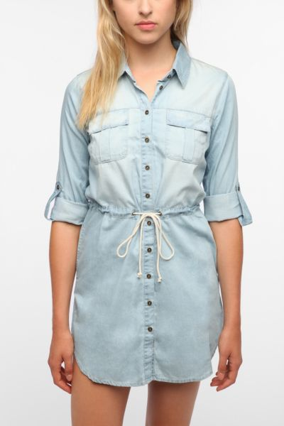 Sparkle & Fade Tie-Waist Chambray Shirtdress