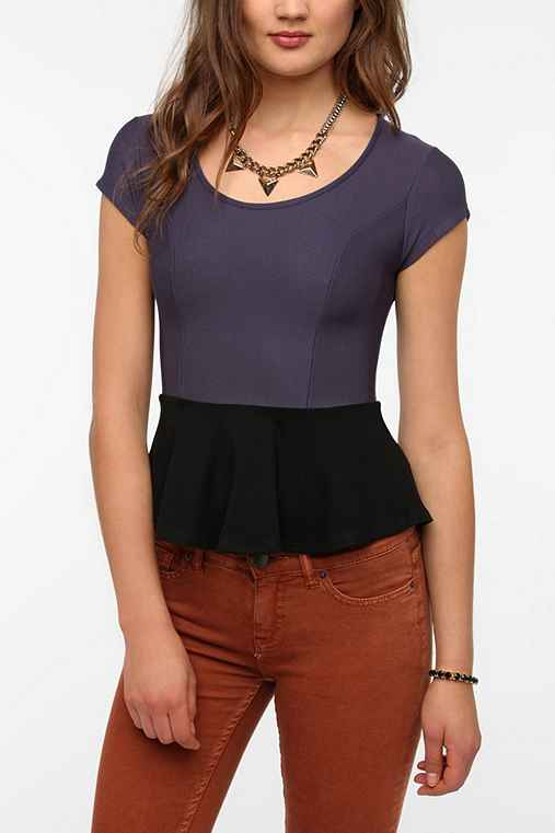 Sparkle & Fade Colorblock Peplum Top