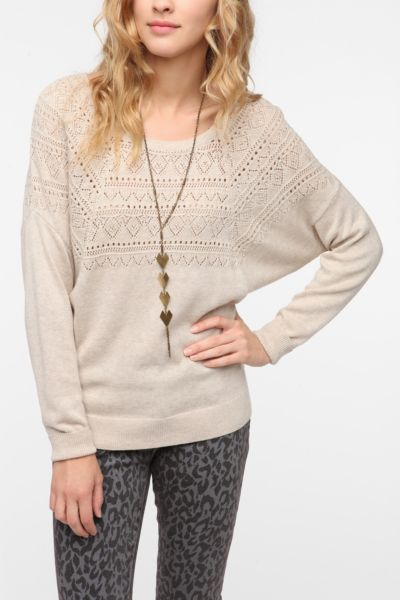 Pins and Needles Pointelle Dolman Sweater
