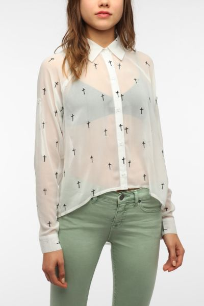 Reverse Cross-Embroidered Blouse