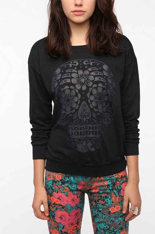 Truly Madly Deeply Burnout Skull Sweatshirt