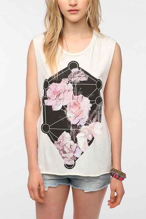 Blood Is The New Black Asymmetric Flower Muscle Tee