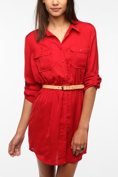BDG Silky Utility Shirtdress