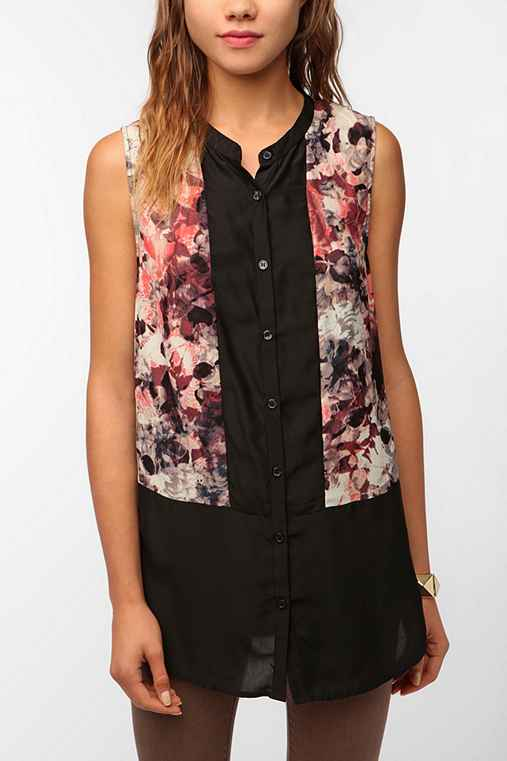 Silence & Noise Sleeveless Pattern Block Tunic
