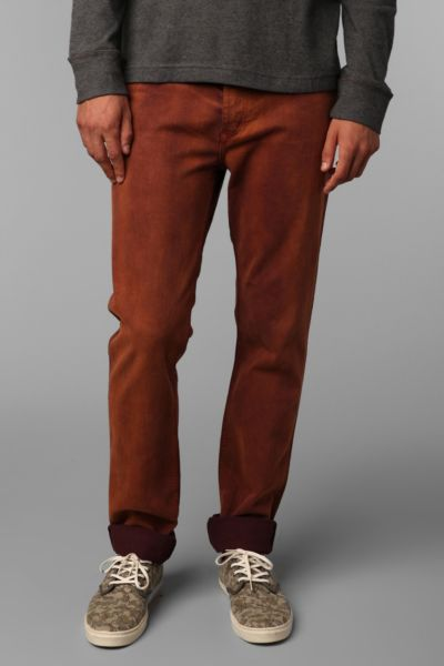 THVM Tapered Solid Dark Orange Dye Jean
