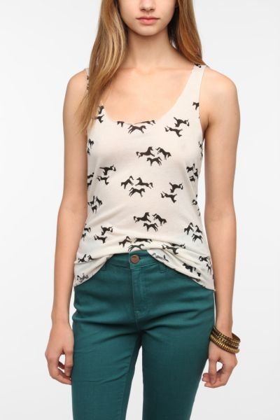 BDG Printed Shirttail Scoop Tank Top