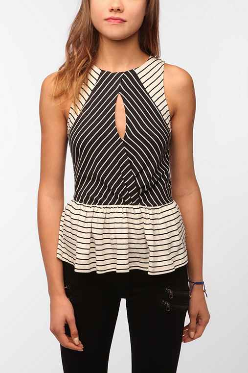 Pins and Needles Striped Cutout Peplum Tank Top