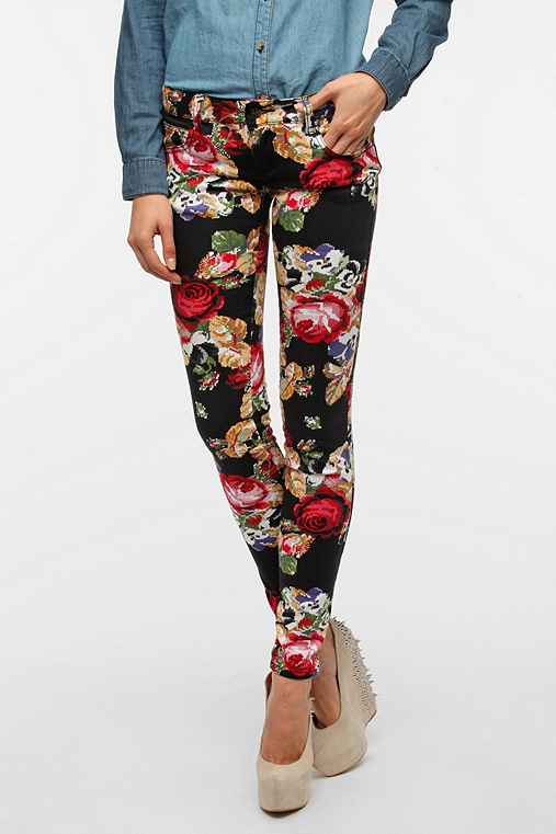 Tripp NYC Floral Cross-Stitch Printed Jean