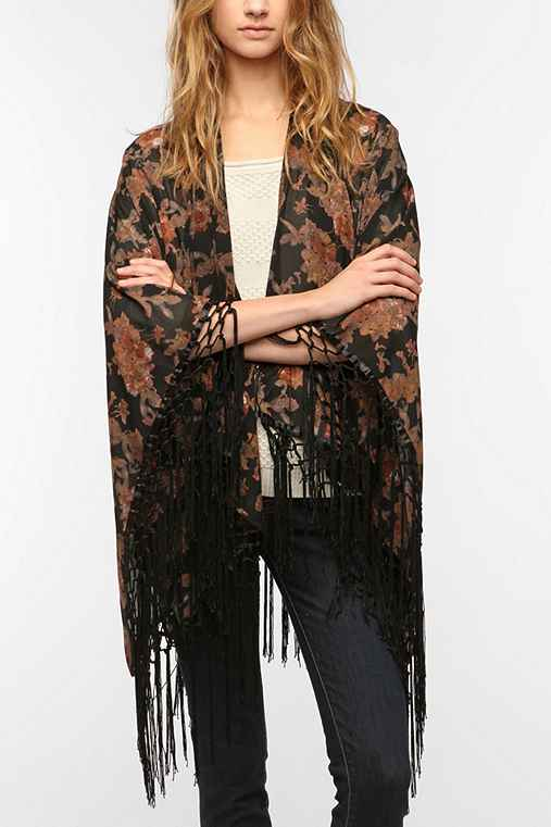 OBEY Fringed Floral Scarf