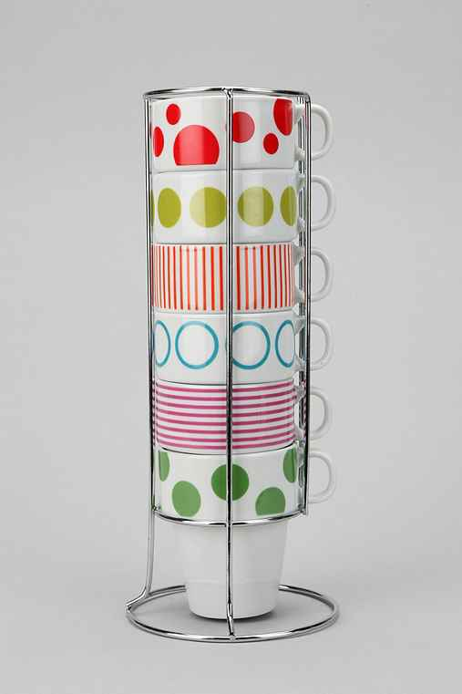 Dots N' Stripes Cappuccino Cup - Set Of 6