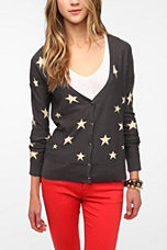 BDG High/Low Step Hem Star Print Cardigan