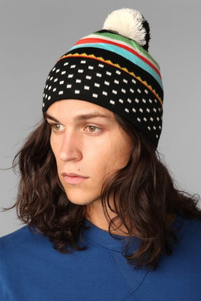 Striped Square Dot Beanie