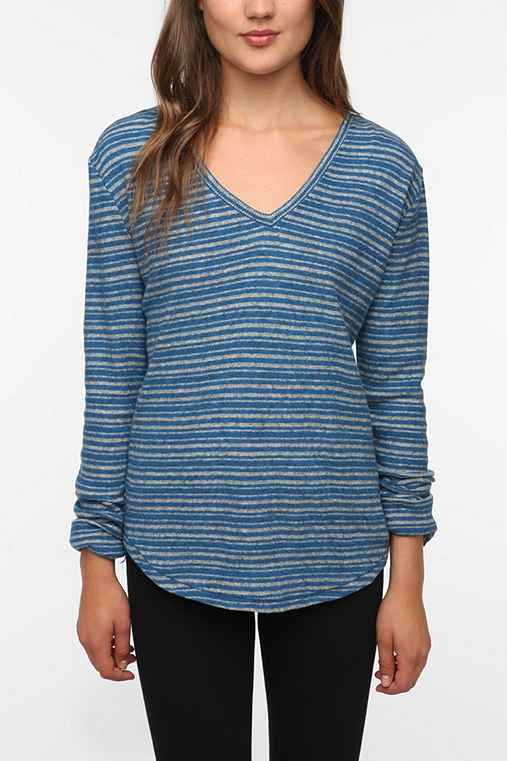 BDG Striped Long-Sleeved Winterlite V-Neck Tee