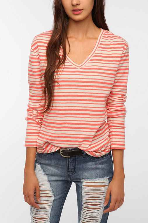 BDG Striped Long-Sleeve Winterlite V-Neck Tee