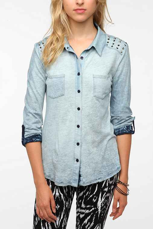 Staring at Stars Knit Button-Down Shirt
