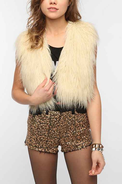 Sparkle & Fade Cropped Faux Fur Vest