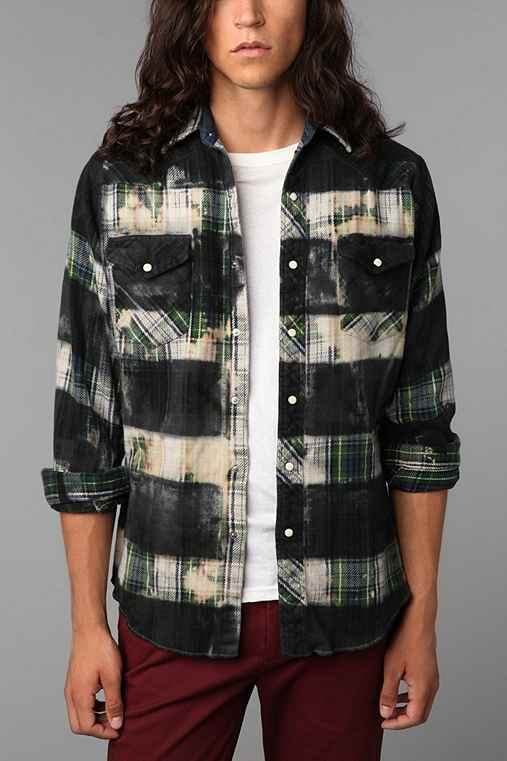 Urban Renewal Printed Stripe Flannel Shirt