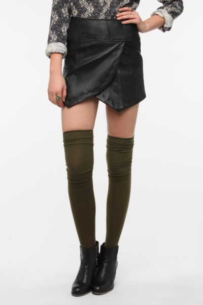 Urban Renewal Scallop Leather Skirt