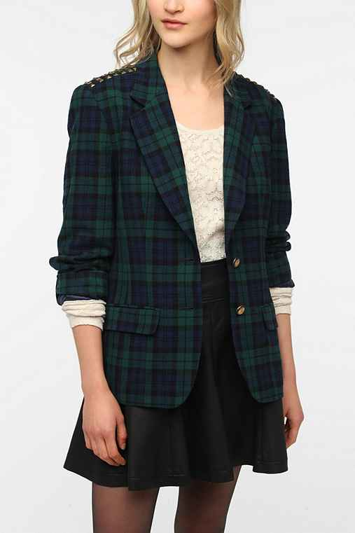 Urban Renewal Studded Plaid Blazer