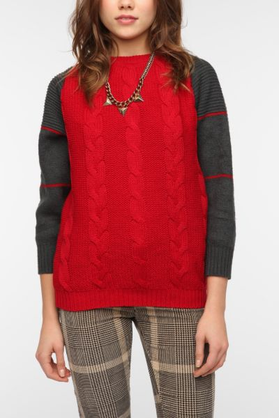 Urban Renewal Striped-Sleeve Fisherman Sweater