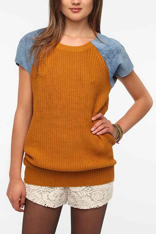 Urban Renewal Suede-Sleeve Shaker Stitch Sweater