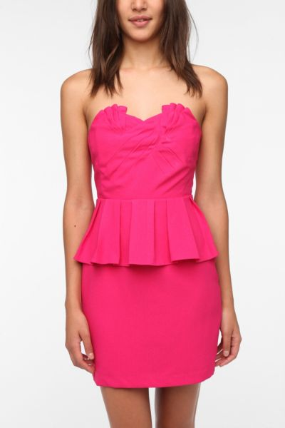 Pins and Needles Strapless Crepe Peplum Dress