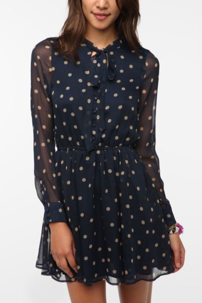 Lucca Couture Chiffon Polka Dot Shirtdress