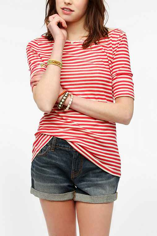 BDG 3/4 Sleeve Striped Boatneck Tee