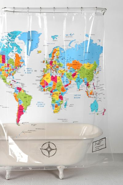 {World Map Shower Curtain Urban Outfitters – Map World Shower Curtain