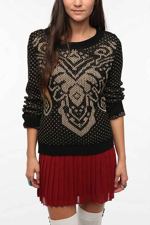Pins And Needles Patterned Yoke Sweater