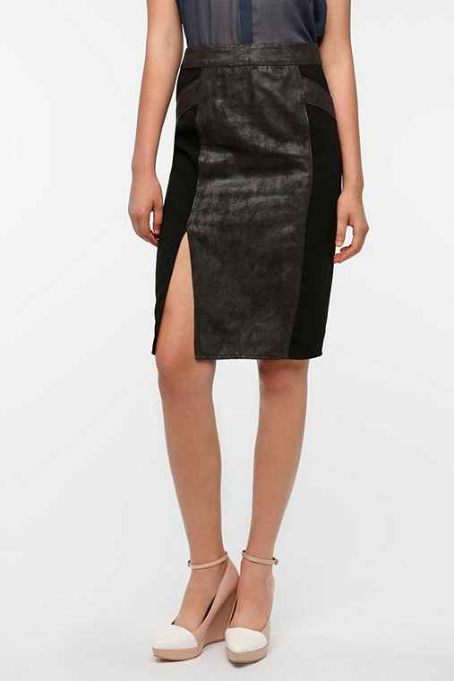 Silence & Noise Faux Suede Mix Pencil Skirt