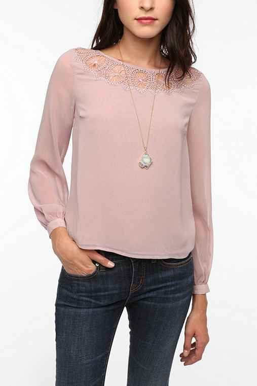 Pins and Needles Circle Lace Inset Blouse