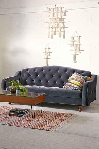 ava velvet tufted sleeper sofa. Black Bedroom Furniture Sets. Home Design Ideas
