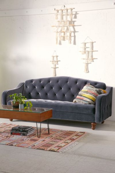 Ava Velvet Tufted Sleeper Sofa