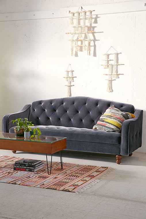 Ava Velvet Tufted Sleeper Sofa,CHARCOAL,ONE SIZE
