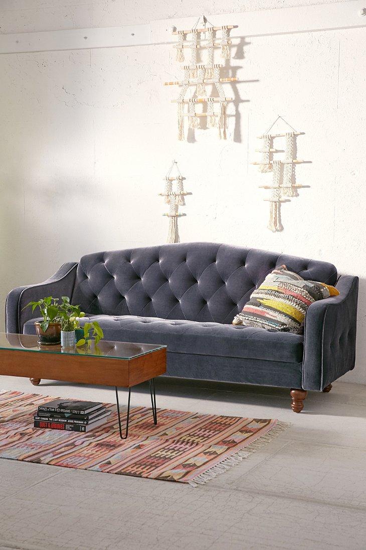 Ava Velvet Tufted Sleeper Sofa Urban Outfitters
