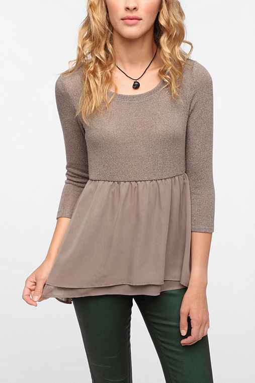 Pins and Needles Chiffon Hem Baby Doll Top