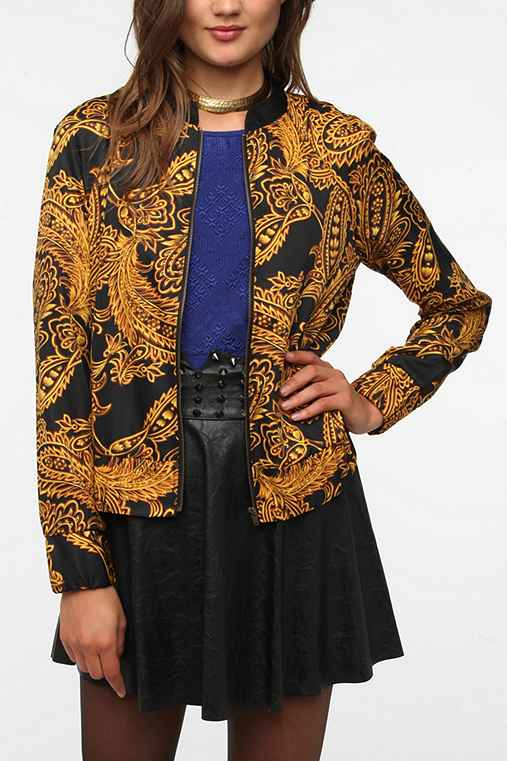 Sparkle & Fade Silky Printed Bomber Jacket