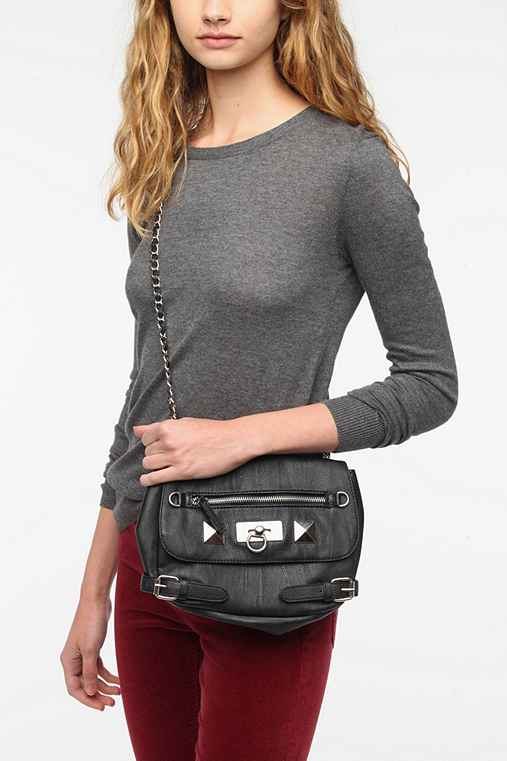 Deena & Ozzy Pyramid-Stud Moto Crossbody Bag