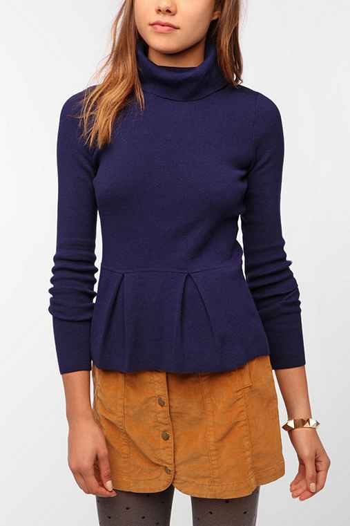Pins And Needles Turtleneck Peplum Sweater
