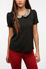 Pins and Needles Brocade Collar Top