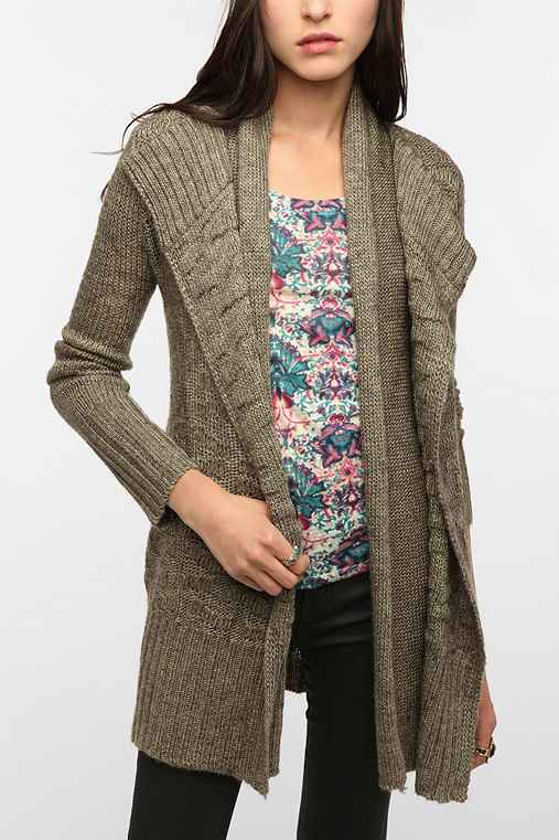 Silence & Noise Double Placket Open Cardigan