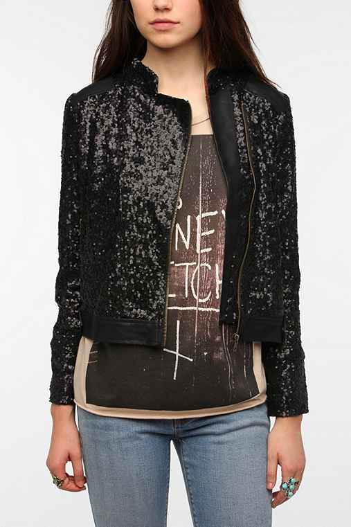 Lucca Couture Faux Leather Sequin Jacket