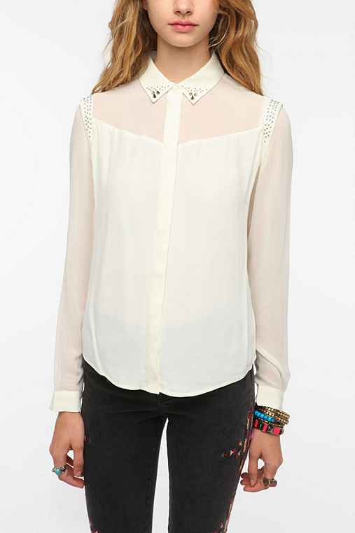 Silence & Noise Studded Collar Silky Blouse