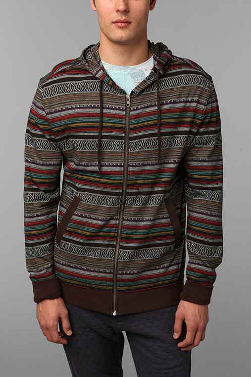 Koto Lightweight Jacquard Zip-Up Hoodie Sweatshirt