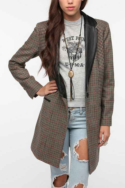 BB Dakota Faux Leather Trim Houndstooth Coat