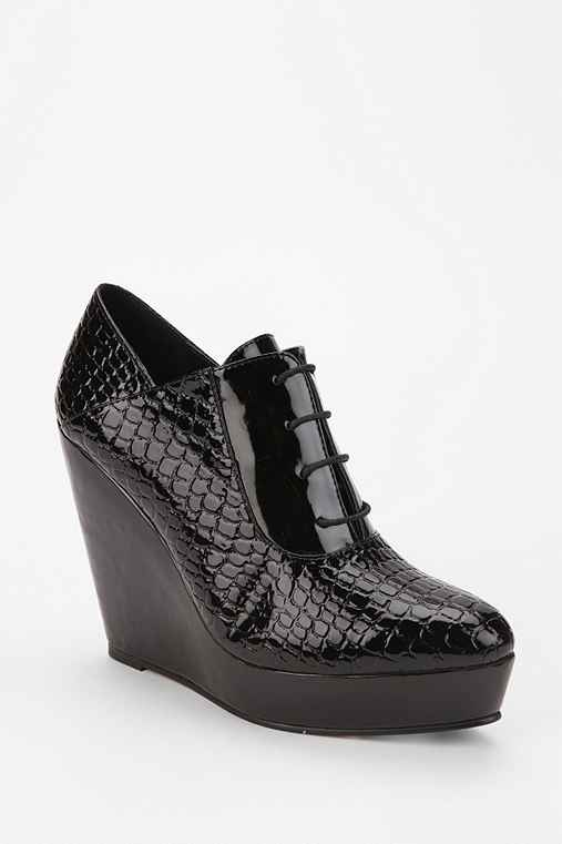 Deena & Ozzy Croc Lace-Up Platform Wedge