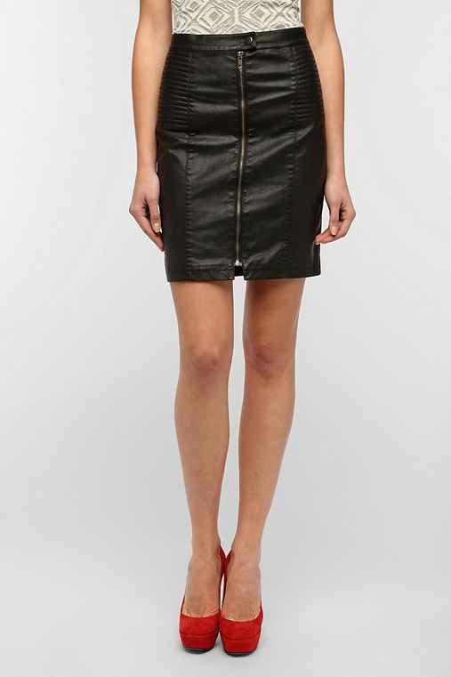 Motel Faux Leather Moto Pencil Skirt