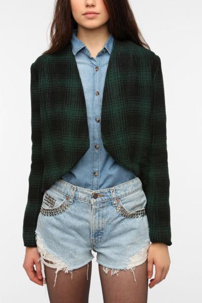 BB Dakota Plaid Peplum Jacket