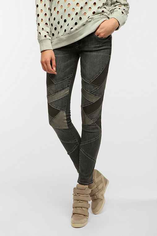 Black Orchid Pieced Skinny Jean - Smokey Quartz